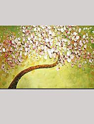мастихином искусства картина маслом ручной росписью декора стены картины свежий зеленый розовый цветение вишни растянуты (готов повесить)