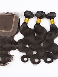 Brazilian Body Wave 3 Bundles with Closure Unprocessed Virgin Human Hair Weft With Closure