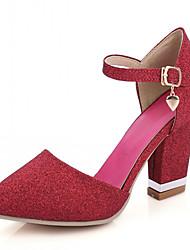 Women's Shoes Leatherette Chunky Heel Heels Heels Wedding / Office & Career / Dress Purple / Red / Gold
