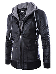 Men's European Style Fashion Hooded Fake Two Slim Fit Motorcycle Leather Jacket