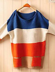Women's Color Block Blue/Orange Loose Sweater,Casual Long Sleeve Pocket
