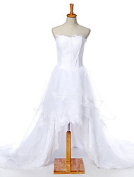 A-line Wedding Dress Asymmetrical Sweetheart Lace with Lace