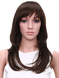 Heat Resistant Cheap Fake Hair Wig 20inch Natural Wave Dark Brown Synthetic Wigs for Women