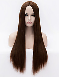 The New  Wig  Red in Brown Long Straight Hair Wigs 30 Inch