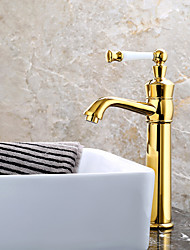 Contemporain Set de centre Valve en céramique Mitigeur un trou with Ti-PVD Robinet lavabo