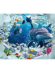 JAMMORY 3D Wallpaper Contemporary Wall Covering,Canvas Stereoscopic Large Mural Submarine World Big Dolphin