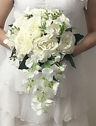 "Wedding Flowers Cascade Peonies Bouquets Wedding / Party/ Evening White Satin 9.84""(Approx.25cm)"