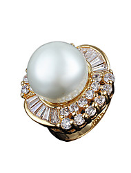 Vintage design 100% real gold ring with big pearl