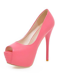 Women's Shoes Leatherette Stiletto Heel Peep Toe / Open Toe Sandals / Dress / Casual Blue / Yellow / Green / Beige