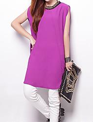 2016 Summer New Women Loose Stitching Irregular Sleeveless Strapless Chiffon Shirt
