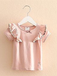 Cute Girls Kids T Shirt Ruffle Sleeves Shirts Tops Flower Bowknot Collar Clothes