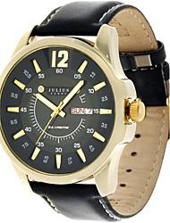Julius® Korea Fashion Waterproof Leather Belt Round Dial Calendar Function Men Watch JAH-017