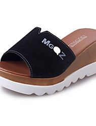 Women's Shoes PU Wedge Heel Slippers Sandals / Slippers Outdoor / Dress / Casual Black / Green / Red