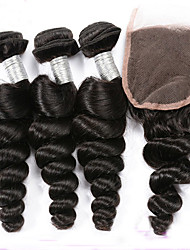 3 Bundles Peruvian Virgin Hair Weft Loose Wave With 1Pcs Free Part Lace Closure Natural Black Hair Extensions
