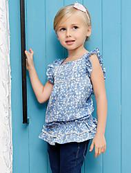 Katoen-Zomer-Girl's-Overhemd-Blauw