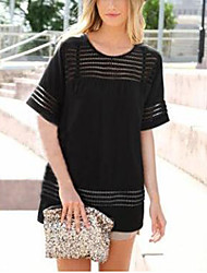 Damen Solide Einfach Lässig/Alltäglich T-shirt,Rundhalsausschnitt Kurzarm Weiß / Schwarz Leinen Dünn