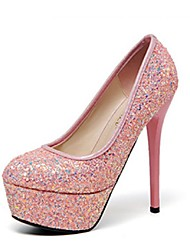 Women's Fall Heels / Round Toe Glitter / PU Dress / Casual Stiletto Heel Pink / White / Silver / Coral