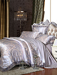 Soft Queen King Size Bedding Set Luxury Silk Cotton Blend Lace Duvet Cover Sets Jacquard Pattern