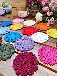 "10cm(3.9"") 20Pcs/lot 100% Cotton Handmade Crochet Doilies Shabby Chic Coasters Cup Mat Placemat Novelty Households"