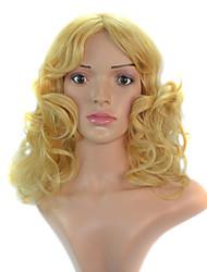 20 mulheres polegada de comprimento de onda corpo cacheados loira peruca de cabelo sintético com rede de cabelo gratuito