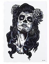 8PCS Long Hair Skull Beauty Belle Flower Design Cosplay Temporary Women Men Arm Waist Body Art Tattoo Sticker Hallowmas