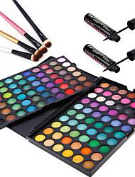 3in1 Augen Make-up-Set (120 Farben Lidschatten Kosmetik-Palette + 4pcs Lidschattenpinsel + 2pcs verwirren&wasserdicht flüssigen