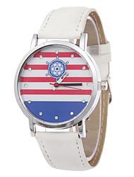 Damen Anker Streifen Ledergürtel Individualität Mode Entspannung Uhren Diamante Denim Boot Mode Quarz
