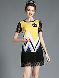 taille plus paillettes élégante broderie de dentelle patchwork creux robe géométrie d'une seule pièce de aofuli femmes de la mode