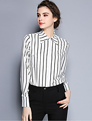 Women's Work Simple Shirt,Striped Shirt Collar Long Sleeve White / Black Silk Thin