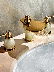 Luxury Gold Brass & Natural Jade Waterfall Bathroom Sink Faucet Vessel Widespread Cold/Hot Three Holes/Two Handles