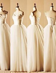 Vestido de Boda-Salón Hasta el Suelo-Corazón Tul