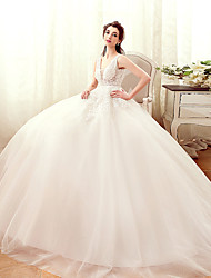 A-line Wedding Dress Floor-length V-neck Tulle with Appliques / Beading / Pearl