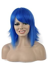 High Quality Short Curly Bule Color Woman's Party Synthetic Wigs