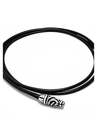 Casting Clasp To Contracted And Fashionable Black Woven Flax Wax Rope Necklace Man Necklace