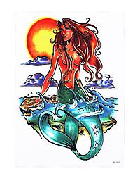 8PCS Sea World Decal Non-toxic Tattoo Beauty Women Men Mermaid Girl Fish Body Back Art Temporary Tattoo Sticker