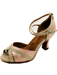 Customizable Women's Dance Shoes Latin Leatherette Flared Heel Pink