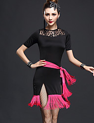 Latin Dance Dresses Women's Fashion Performance Chinlon / Nylon Split Lace / Tassel(s) Dance Costumes