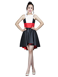 Cocktail Party Dress A-line High Neck Asymmetrical Taffeta with Sash / Ribbon