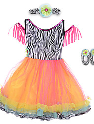 Performance Dresses Children's Performance Spandex / Polyester Pleated 2 Pieces Sleeveless High Dress / Headpieces 60cm