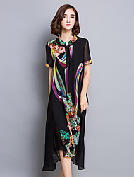 Women's Going out / Plus Size Vintage Chiffon Dress,Print V Neck Asymmetrical Short Sleeve Black Polyester Summer