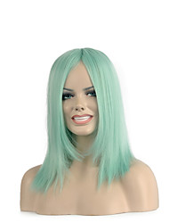 High Quality Straight Green Color Woman's Party Synthetic Wigs