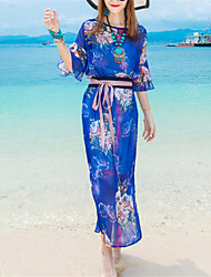 Beach Boho Loose Dress,Print Round Neck Maxi ½ Length Sleeve Blue Polyester Summer Mid Rise Micro-elastic