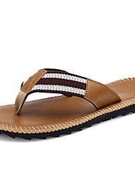 Men's Summer Flip Flops Canvas Casual Flat Heel Gray / Khaki