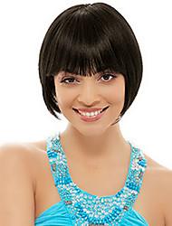 Short Bob High Quality Synthetic Natural Black Straight Hair Wig Full Bang