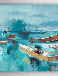 pintados à mão pintura a óleo da paisagem vela barco à vela afastado com moldura esticada arts® 7 parede