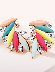 Stud Earrings Gemstone Resin Rhinestone Alloy Fashion Wings / Feather Rainbow Jewelry Daily Casual 1 pair