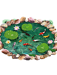 Waterproof 3D Lotus Pond Goldfish Bathroom Wall Stickers Environmental Floor Decals