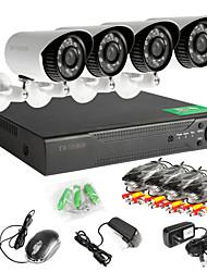 960H red de 8 canales DVR 4pcs ahd sistema de cámaras de seguridad al aire libre de circuito cerrado de televisión