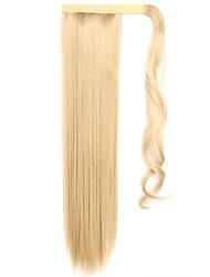 золотой 60см синтетическая высокая температура проволоки парик прямые волосы конский хвост цвет 25/613