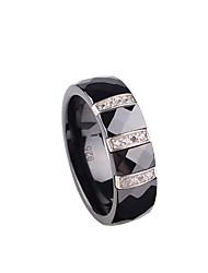 Anéis,Prata de Lei Fashion Casamento / Pesta / Diário / Casual Jóias Prata de Lei Anéis de Casal 1pç,6 / 7 / 8 Preto / Branco